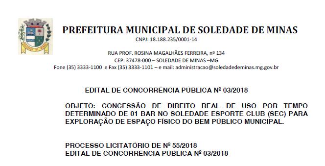 EDITAL DE CONCORRÊNCIA PÚBLICA Nº 03/2018 (Bar do SEC)