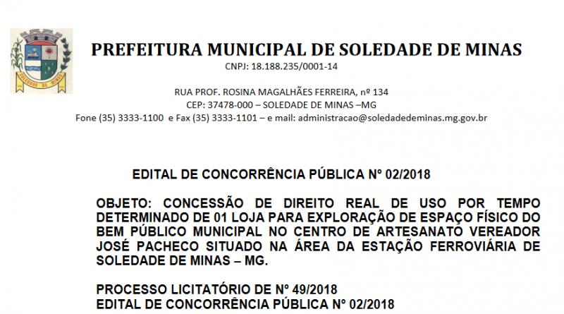 EDITAL DE CONCORRÊNCIA PÚBLICA Nº 02/2018