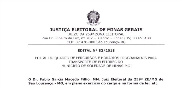 EDITAL DE PERCURSO, HORÁRIO E TRANSPORTE ELEITORAL